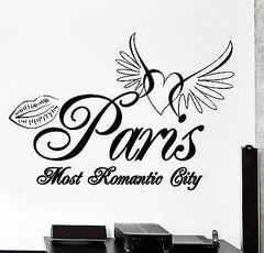 Wall Decal Paris France Eiffel Tower Heart Wings Romantic Vinyl Decal (z3130)