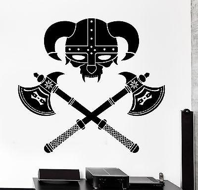Wall Vinyl Viking Helmet Warrior Guaranteed Quality Decal (z3441)