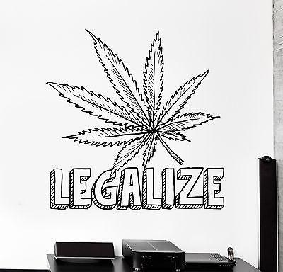 Wall Vinyl Hippie Weed Marihuana Leaf Legalize Decal Unique Gift (z3403)