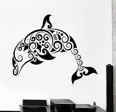 Wall Decal Dolphin Ocean Marine Sea Ornament Tribal Mural Vinyl Decal Unique Gift (z3302)
