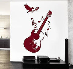Wall Vinyl Music Rock Microphone Notes Raven Guaranteed Quality Decal Unique Gift (z3556)