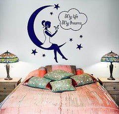 Wall Decal Girl Moon Stars Night My Life My Dreams Vinyl Sticker Unique Gift (z3601)