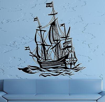 Wall Decal Sail Boat Ocean Ship Yacht Marine Sea Waves Vinyl Sticker Unique Gift (z2828)