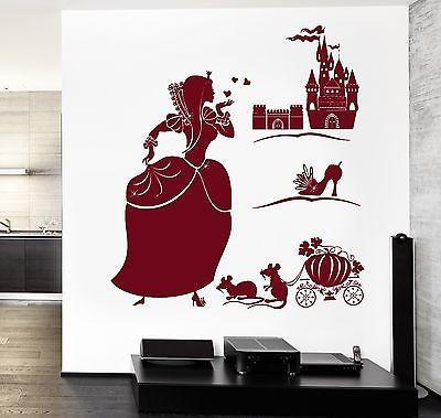 Wall Decal Girl Cinderella Castle Shoe Fairy Tale Vinyl Sticker Unique Gift (z3607)