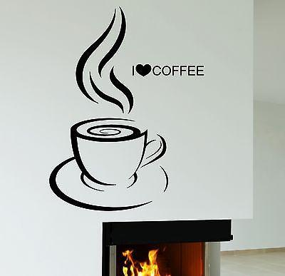 Wall Decal I Love Coffee House Cafe Kitchen Decor Vinyl Stickers Mural (ig2525)