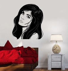 Wall Decal Fashion Girl Woman With Beautiful Hair Vinyl Sticker (z3618)