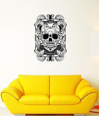 Wall Decal Skull Pattern Character Head Death Banner Vinyl Stickers Unique Gift (ed019)