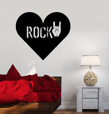 Wall Vinyl Music Rock Heart Love Guaranteed Quality Decal Unique Gift (z3499)