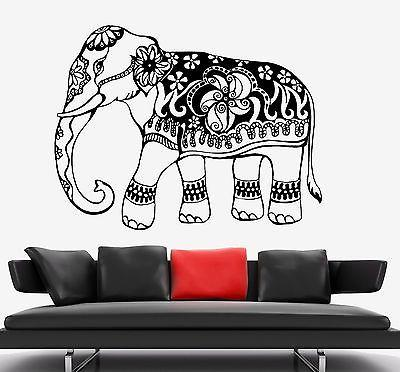 Wall Decal Elephant Indian Animal Ornament Tribal Mural Vinyl Decal Unique Gift (z3316)