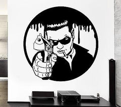 Wall Sticker Mafia Man With Gun Killer Gunman Gangster Pop Art (z2598)