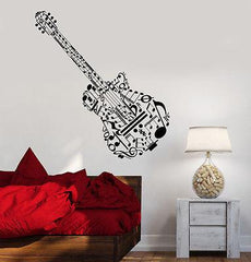 Wall Vinyl Music Guitar Made Of Notes Guaranteed Quality Decal (z3531)