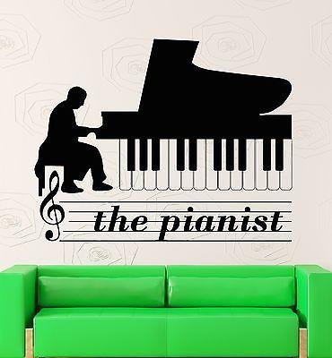 Pianist Wall Stickers Piano Music Musical Instrument Vinyl Decal Unique Gift (ig2371)