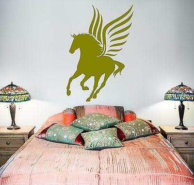 Wall Vinyl Fairytale Horse Wings Pegasus Mural Vinyl Decal Unique Gift (z3380)