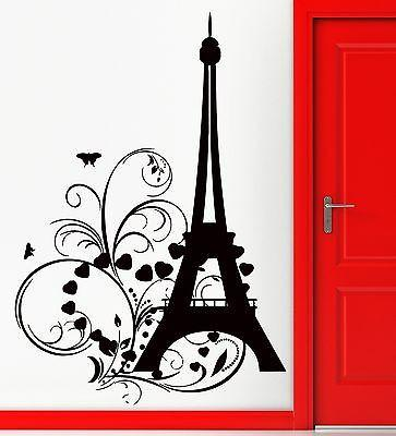 Wall Sticker Eiffel Tower Paris Hearts Butterfly Romantic Decor Bedroom (z1347)