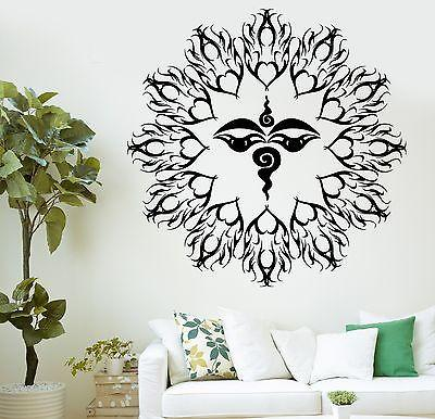 Wall Decal Buddha Eyes Mandala Buddhism Mantra Om Vinyl Sticker Unique Gift (z2878)