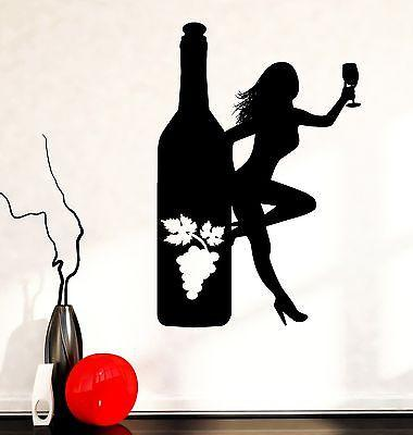 Wall Decal Naked Girl Bottle Of Wine Vine Bar Vinyl Sticker Unique Gift (z3597)