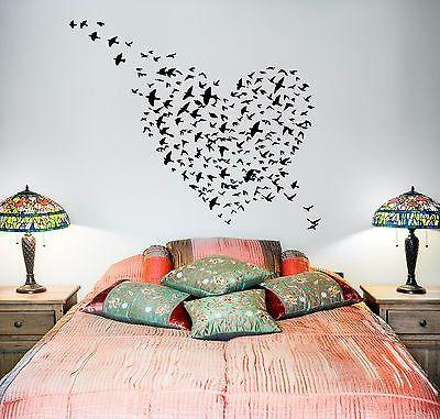 Wall Vinyl Heart Bird Love Romantic Ornament Mural Vinyl Decal Unique Gift (z3353)