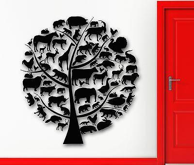 Wall Sticker Vinyl Decal Tree Animal Nature for Kids Baby Room Nursery Unique Gift (ig1960)