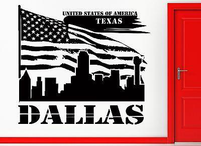 Wall Sticker Vinyl Decal Dallas Texas American Flag USA Living Room Decor Unique Gift (2406)