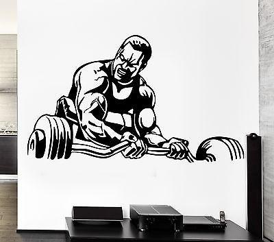 Wall Decal Sport Bodybuilding Bodybuilder Muscle Man Fitness Weights Unique Gift (z2773)