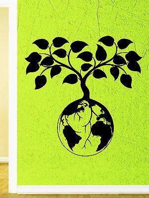 Wall Decal Tree Foliage Nature Planet Earth World Greens Vinyl Stickers Unique Gift (ed154)