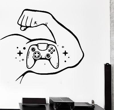 Wall Decal Gaming Joystick Joypad Muscle Bicep Games Vinyl Decal Unique Gift (z3103)
