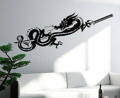 Decal Dragon Sword Katana Myth Mythology Fantasy Monster Cool Interior Unique Gift (z2710)