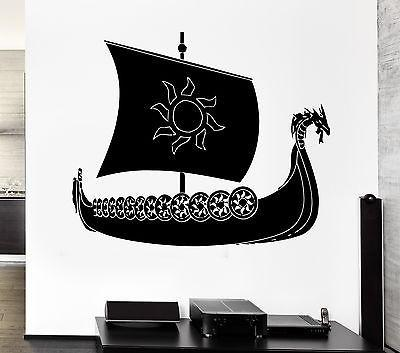 Wall Decal Viking Ship Warrior Ocean Marine Scandinavian Sea Cool Interior Unique Gift z2711