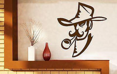 Wall Vinyl Sticker Decal Smoker Cowboy Hat Tube Mustache Unique Gift (n276)