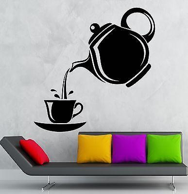 Wall Stickers Tea Party Tea Coffee Maker Kitchen Decor Vinyl Decal Unique Gift (ig2469)