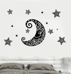 Wall Decal Moon Stars Space Ornament Tribal Mural Vinyl Decal (z3188)