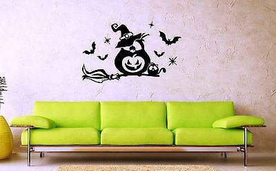 Wall Stickers Vinyl Decal Nursery For Kids Owl on Broom Halloween Bats Unique Gift ig1414