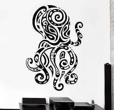Wall Decal Octopus Ocean Sea Ornament Tribal Mural Vinyl Decal Unique Gift (z3186)