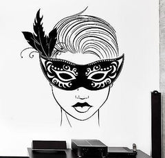 Wall Decal Carnival Mask Masquerade Sexy Hot Girl Sexy Vinyl Decal (z3147)
