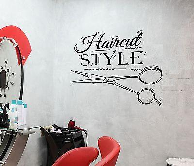 Wall Decal Haircut Style Beauty Salon Scissors Fashion Vinyl Stickers (ed074)