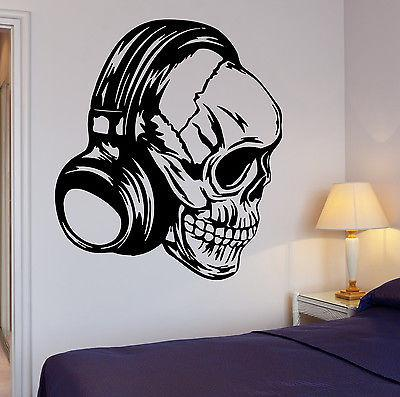 Headphones Wall Decal Music Skull Cool Decor Rock Pop For Bedroom Unique Gift (z2735)
