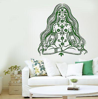 Meditation Wall Decal Buddha Chakra Meditation Girl Woman Vinyl Sticker (z2874)