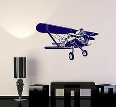 Wall Vinyl Airplane Retro Biplane Guaranteed Quality Decal (z3447)