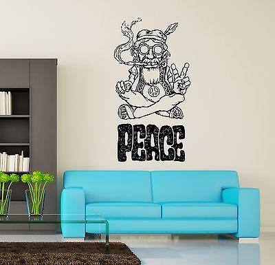 Wall Vinyl Hippie Peace Marihuana Weed Smoking USA Flag Dorm Room Decor Unique Gift (z3399)