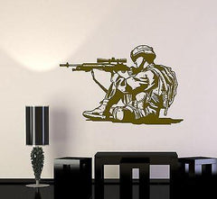 Wall Vinyl Marine Soldier Rifle M16 Guaranteed Quality Decal (z3449)