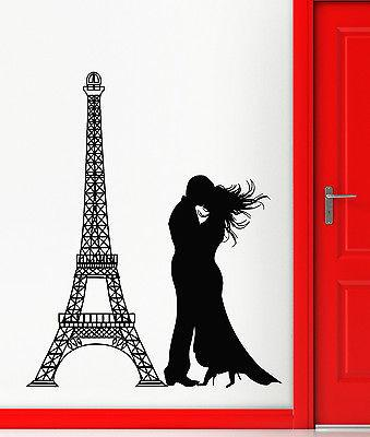 Wall Stickers Eiffel Tower Paris France Romantic Love Vinyl Decal (ig2374)