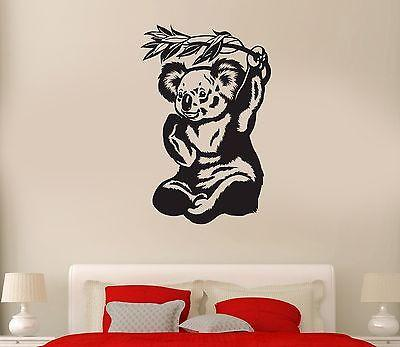 Wall Decal Panda Eucalyptus Bamboo Animal Bear Reed Mural Vinyl Stickers Unique Gift (ed042)