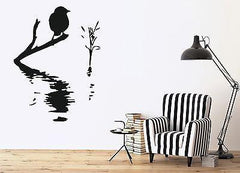 Decor Wall Sticker Vinyl Decal Bird on Branch Water Waves Reed (n103)