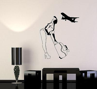 Wall Vinyl Stewardess Travel Airplane Guaranteed Quality Decal Unique Gift (z3452)