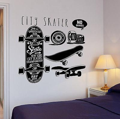 Wall Decal Skateboard New York City Skater Sport Extreme Vinyl Stickers (ed117)