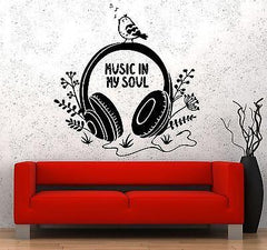 Wall Vinyl Music In My Soul Bird Headphones Notes Flower Decal Unique Gift z3566