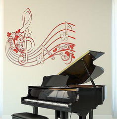 Wall Vinyl Music Notes Clef Flower Floral Guaranteed Quality Decal Unique Gift (z3510)