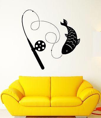 Wall Decal Fish Fishing Rod Animal Fins Scale Catch Mural Vinyl Stickers Unique Gift (ed155)