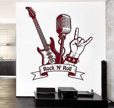 Wall Decal Music Rock Guitar MIcrophone Vinyl Sticker Unique Gift (z3587)