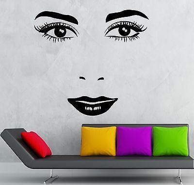 Face Vinyl Decal Sexy Girl Lips Beauty Makeup Salon Wall Stickers Unique Gift (ig2332)